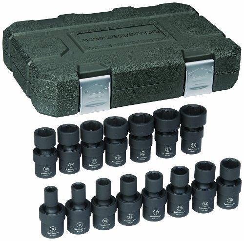 GearWrench 84918 38-Inch Drive Universal Impact Socket Set Metric 15-Piece