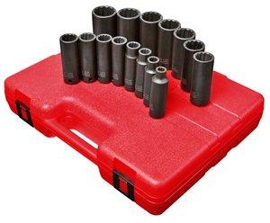 Sunex 2670 15 Piece 12 Drive Deep SAE 12 Point Impact Socket Set