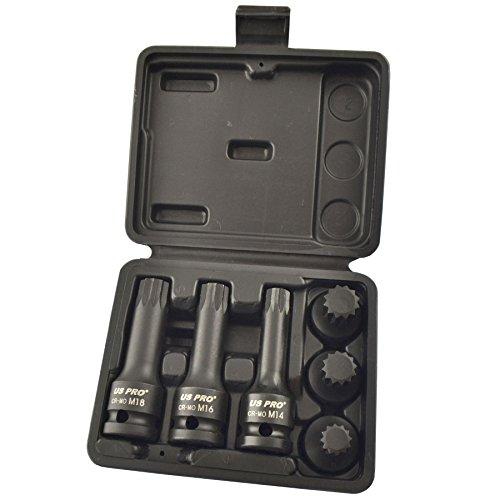 Spline Socket set Triple Square 12 Drive M14 - M18 6pc Shallow and Deep AT829