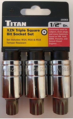 Titan 16083 XZN Triple Square Bit Socket Set