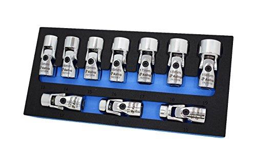 Astro Pneumatic Tool 74310 10-Piece 38 Drive Flex Socket Set - 6 Point - Metric