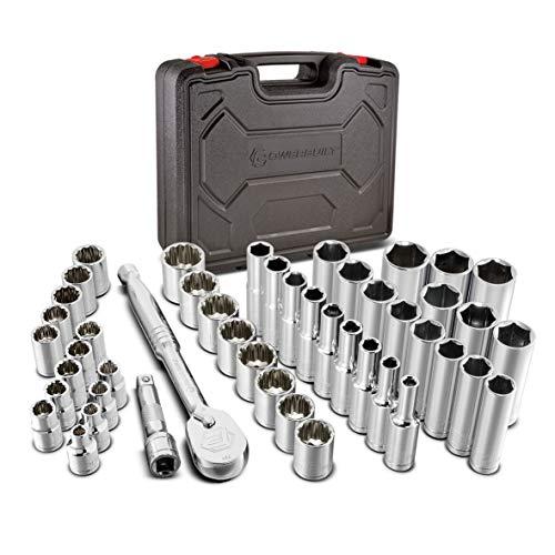 Powerbuilt 38 Piece 14 Drive Mechanics Home Automotive Tool Set Seal-Head 72-Tooth Ratchet Socket Set 47 Piece