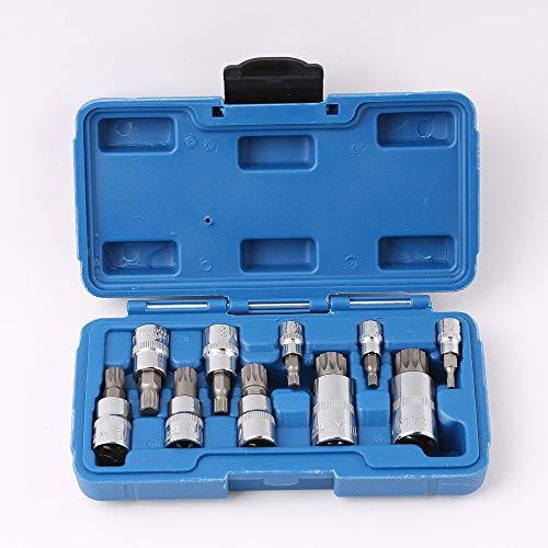 10pc XZN 12 Point MM Triple Square Spline Bit Socket Set Tamper Proof 4mm-12mm