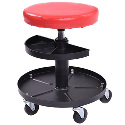 Goplus Adjustable Mechanics Rolling Creeper Seat Stool Pneumatic Chair Tray Padded Repair Shop Garage w 300 lbs Capacity