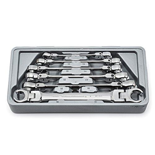 GearWrench 81911 6 Piece Flex Flare Nut Wrench Set Metric