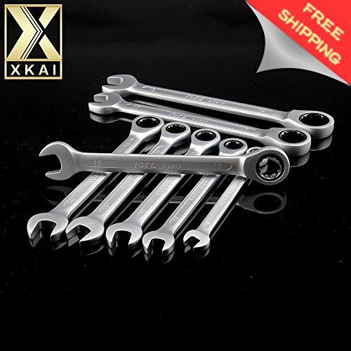 XKAI 810121314151719Mm Ratchet Spanner Combination Wrench A Set Of Keys Gear Ring Wrench Chrome Vanadium Brand