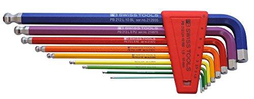 PB Swiss Tools PB 212LH-10 RB Ballend hex set long rainbow