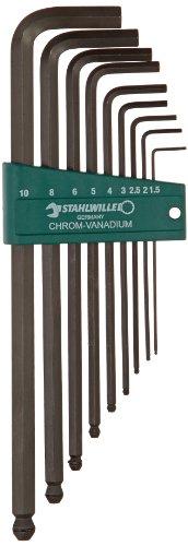 Stahlwille 10767H9 Chrome Vanadium Gunmetal Finish Ball Ended Hexagon Key Wrench Set 9 Pieces