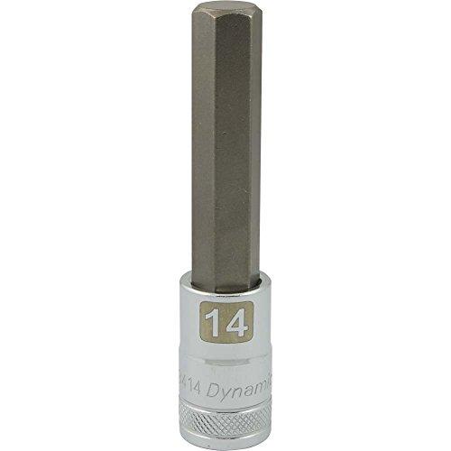 Dynamic Tools D013414 12 Drive Metric Hex Head Socket with 14mm Long Bit Chrome Finish