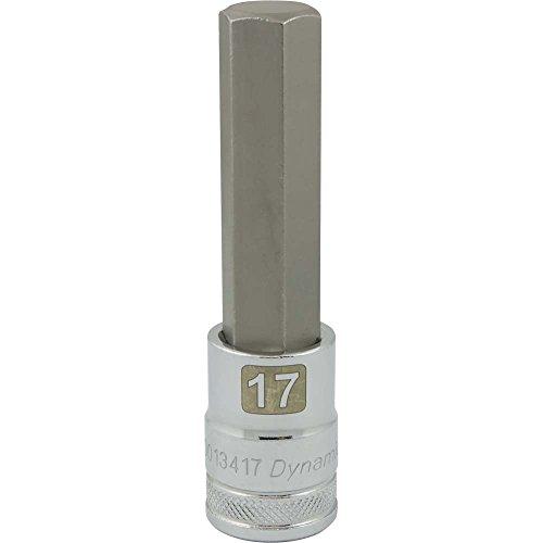 Dynamic Tools D013417 12 Drive Metric Hex Head Socket with 17mm Long Bit Chrome Finish
