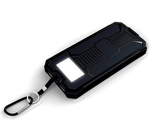 Waterproof Solar Panel Power Bank External Battery Dual-USB Charger Camping lamp 10000mAh Black