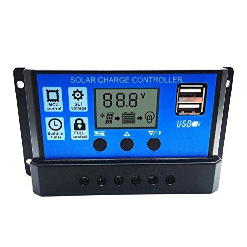 Allrise Solar Charge Controller Solar Panel Battery Intelligent Regulator with Dual USB Port Display 12V24V 20A