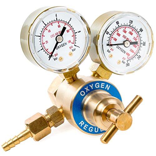 Biltek Dual Gauge Oxygen Solid Brass Regulator for Welding Victor Gas Torch Cutting - CGA540 Rear Mount Fitting