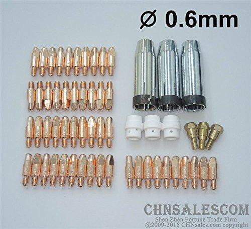 CHNsalescom 59 PCS MB 24KD MIGMAG Welding Torch Contact TIP 06X28mm Gas Nozzle 1450080