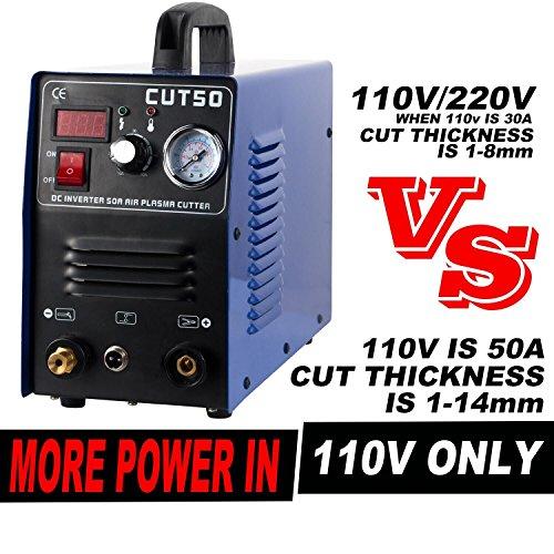 Air Inverter Plasma Cutter - Tosense CUT50 Exclusive 110V 50Amp Digital Compact Plasma Cutting Machine 12 Clean Cut