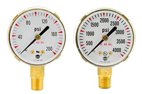2 x 200 PSI 4000 PSI Welding Regulator Repair Replacement Gauges For Oxygen
