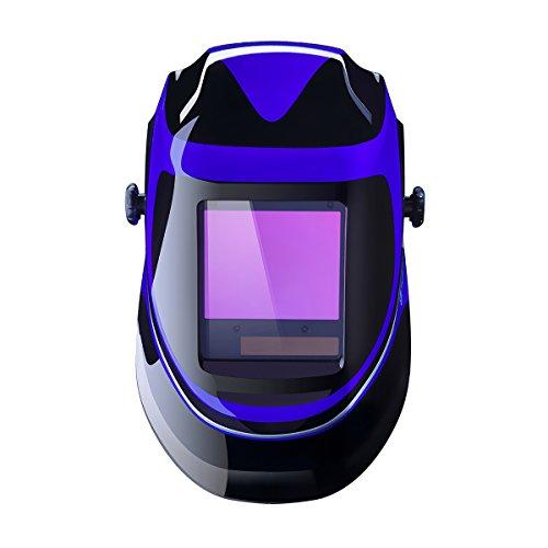 Deep Sea Solar Powered Welding Helmet Auto Darkening Professional Hood with Wide Lens Adjustable Shade Range 49-13 for Mig Tig Arc Weld Grinding Welder Mask
