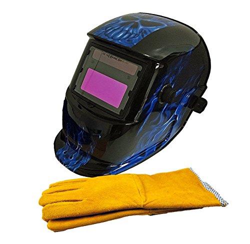 "Instapark ADF Series GX-500S-WG Solar Powered Auto Darkening Welding Helmet Blue with 14"" Premium Yellow Leather Welding Gloves"