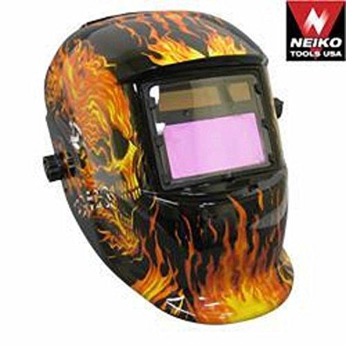 Professional Solar Powered Welding Helmet Flaming Skull Design Mig Tig Autodark