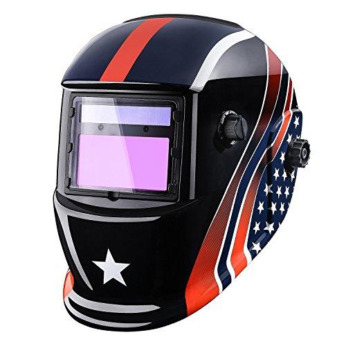 Welding Helmet Auto Darkening Solar Powered Hood with Adjustable Shade Range 49-13 for Mig Tig Arc Welder Mask Large Viewing 39''x17'' Optical Class 1113