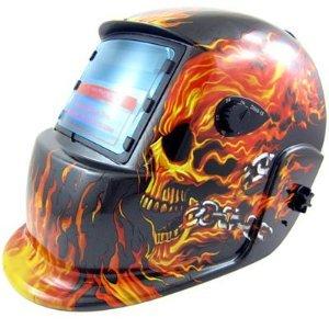 XtremepowerUS Auto-Darkening Solar Powered Welding Helmet Flames Skull