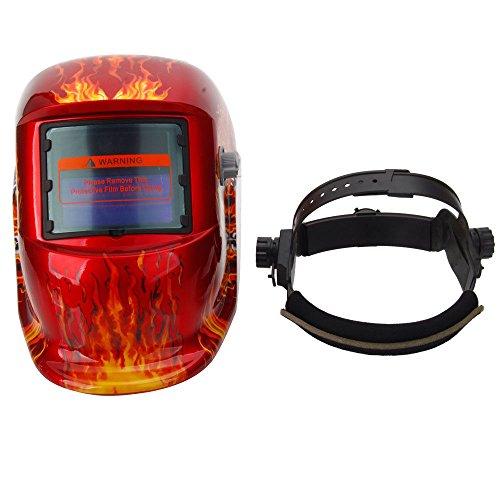 Pro Solar Auto Darkening Welding Helmet Arc Tig Mig Mask Grinding Welder Mask Flame Skull Red
