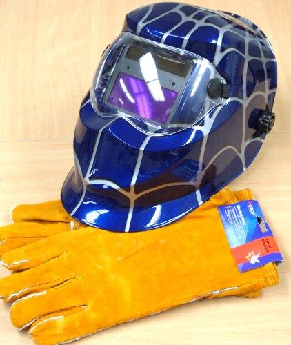 Solar Auto Darkening Welding Helmet  Spider design-Blue