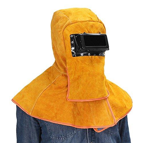 Sundlight Yellow Solar Welding Helmet Hood Mask Helmet Cowhide Split Leather Auto Darkening Filter Lens Protection