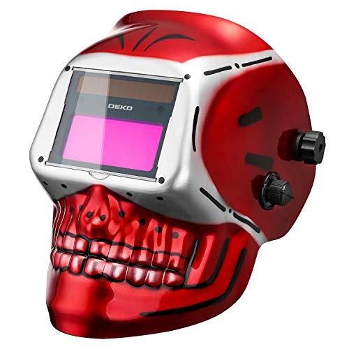 DEKOPRO Welding Helmet Solar Powered Auto Darkening Hood with Adjustable Shade Range 49-13 for Mig Tig Arc Welder Mask Skull Design