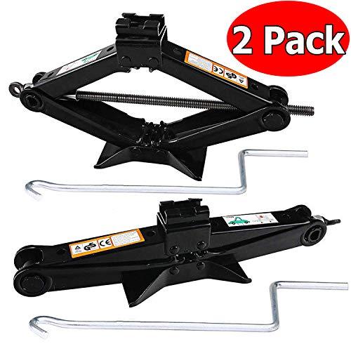 2 Ton Portable Car Scissor Jack with Handle for SedanCoupeFarmShopPack of 2 Soild Steel Roadside Emergency Tool