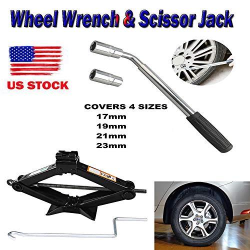 Heavy Duty 2 Tonne Scissor Jack with Handle Extendable Lug Nut Wrench Telescopic Wheel Brace 4 Socket Standards 17192123mm Spare Tire Repair Tool Kit for Car Van Emergency Breakdown
