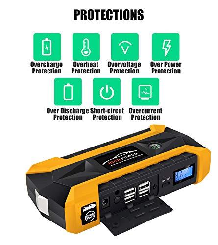 Car Jump Starter 12V 4USB Portable Car Battery Charger Emergency Starting Power Bank Tool KitA-USPlug