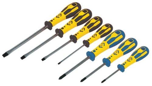 C K Tools T49163 Dextro Slotted PoziDrive Screwdriver Set 7-Piece