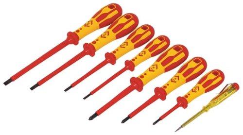 C K Tools T49193 Dextro VDE Insulated SlottedPoziDrive Screwdriver Set 8-Piece