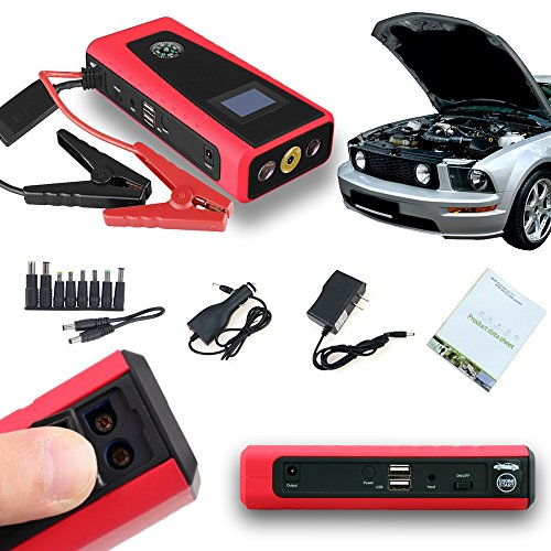Indigi Emergency Vehicle Jump Starter Power Bank For iPhone 6 6 Galaxy S6 Edge Note 4 RED