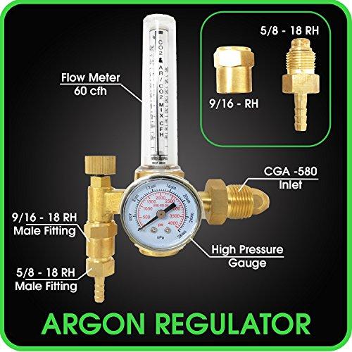Argon Regulator TIG Welder MIG Welding CO2 Flowmeter 10 to 60 CFH - 0 to 4000 psi pressure gauge CGA580 inlet Connection Gas Welder Welding Regulator More Accurate Gas Metering For Gas Delivery System