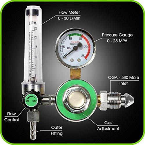 Argon Regulator With Flowmeter TIG Welder MIG Welding CO2 Regulator 0 to 30 LMIN - 0 to 25 MPA Pressure Gauge CGA580 Inlet Connection Gas Welder Welding Regulator with Built-In Flow Meter