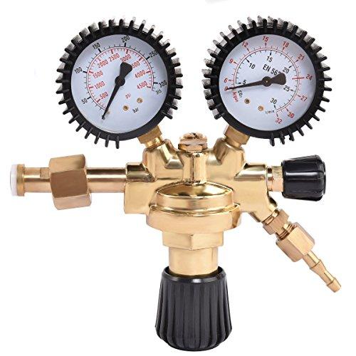 Goplus CO2 High Pressure Regulator Nitrogen Reducer Dual Gauge Gas Regulator 0-4500 PSI