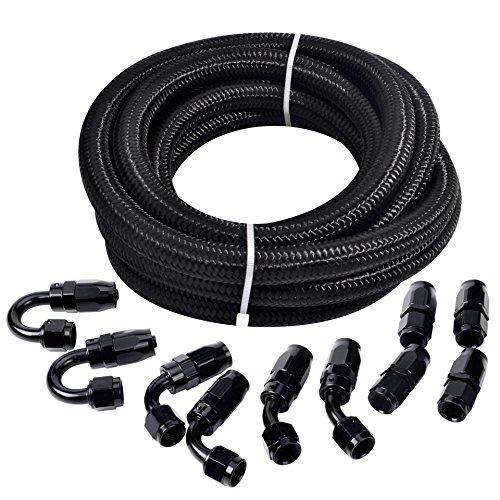 ESPEEDER 16Ft 6AN Black Oil Line 38 Nylon BraidedAN6 Hose End Fitting Adapter Kit