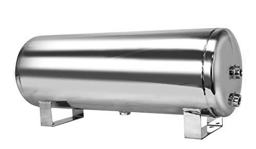 Mototeks Inc 5 Gallon Chrome Steel AIR Tank with 4 Ports  Drain Port for AIR Suspension AIR Ride AIR Horn AIR Bags Chrome
