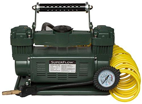 Superflow MV-89G Green Heavy Duty Tire Inflator 12 Vot Portable Air Compressor for Trucks SUVs RVs Trailers