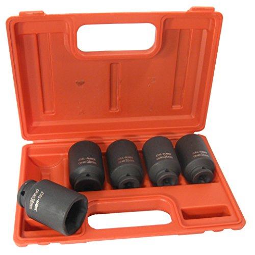 5-Pc 12 Drive Cr-Mo 6 Point Deep Impact Socket Set 33mm 34mm 35mm 36mm 38mm Metric