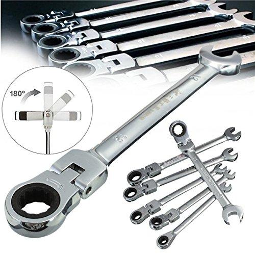 6pcs a Set 6mm-12mm Flexible Pivoting Head Ratchet Combination Spanner Wrench Garage Metric Tool