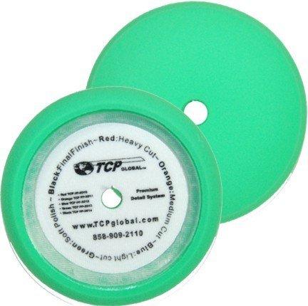 TCP Global 8 Green Fine Foam Buffing Grip Pad Final Cut Polish Finishing - Hook Loop