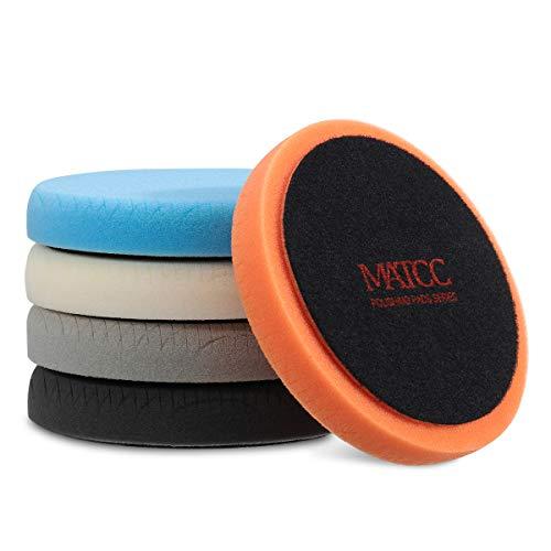 MATCC Polishing Buffing Pads 5 Pcs 6 Inch 150mm Waxing Pads kit for Drill Buffer Polisher Matching Velcro Backing Pad