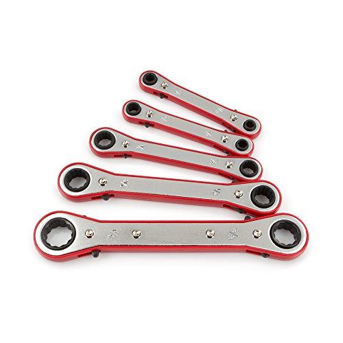 TEKTON 2205 Ratchet Box End Wrench Set Inch 5-Piece Older Model