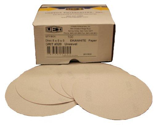 Uneeda M-136528 EKAWHITE 6 320 Grit White Aluminum Oxide Paper Uneevel Hook and Loop Disc Pack of 100