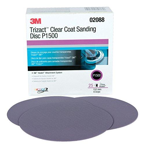 3M 02088 Trizact Hookit 6 P1500 Grit Clear Coat Sanding Disc
