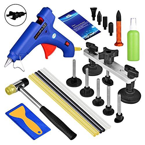 Super PDR car auto body paintless dent repair removal tool kits bridge puller dent lifter kit glue gun with glue sticks rubber hammer
