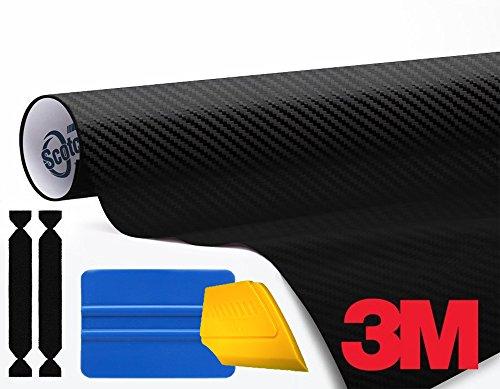 3M 1080 Carbon Fibre Black Air-Release Vinyl Wrap Roll Including Toolkit 3ft x 5ft